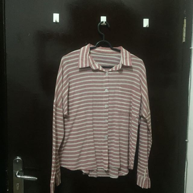 Kemeja stripe pink