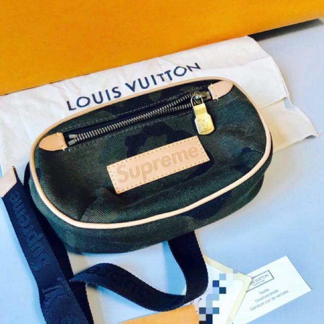 ae36a718bd1 Louis Vuitton x Supreme Bumbag Monogram Camo PM Camo, Women's ...