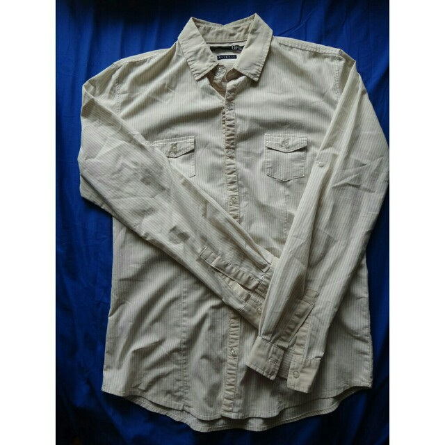 Men's Polo Long Sleeves Stripes Semi Formal Office Small