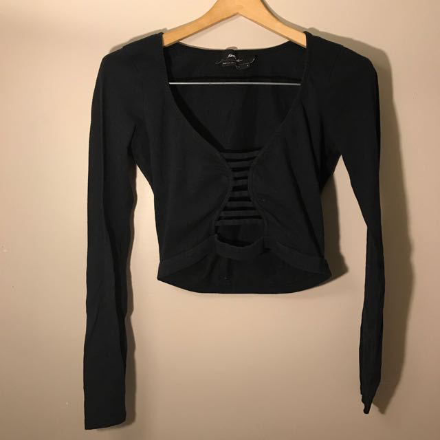 Nasty Gal caged crop long sleeve