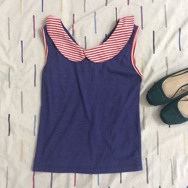 Navy Blue Sleeveless Blouse