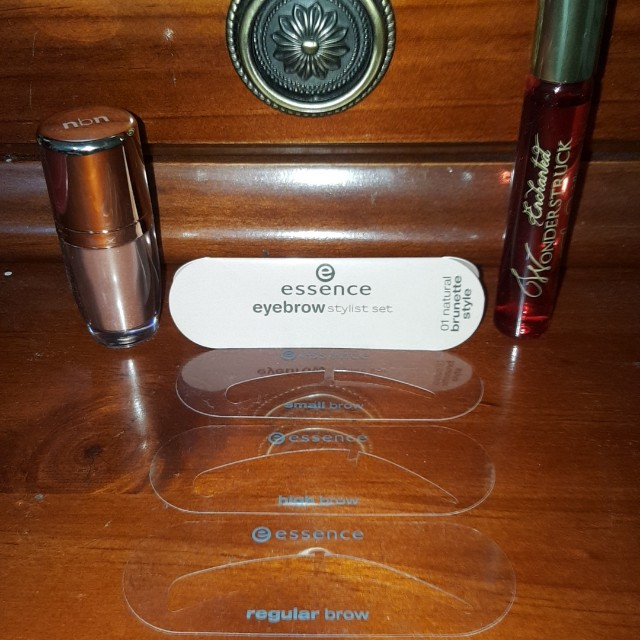 NBN, essence eyebrow kits and prefume roller on