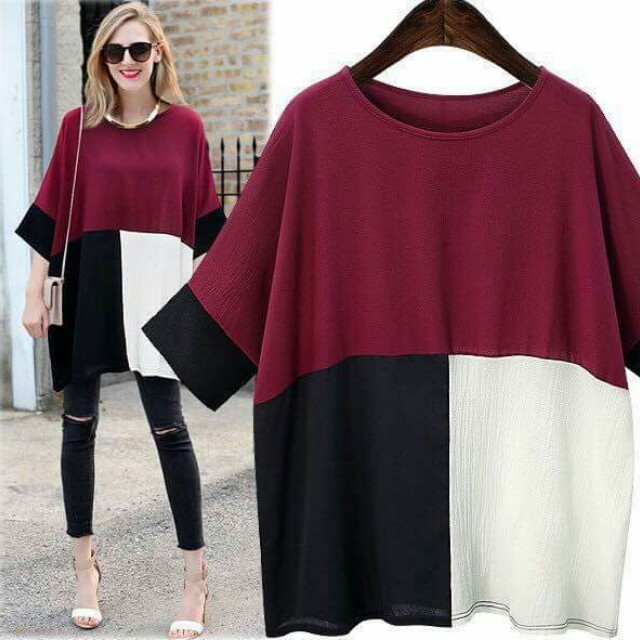 New Arrival 💋Color Block Batwing Sleeve Blouse 💫Linen chiffon fabric, soft comfy  💫Color block design  💫Free size fits up to semi L 💫2 colors  💫Good quality