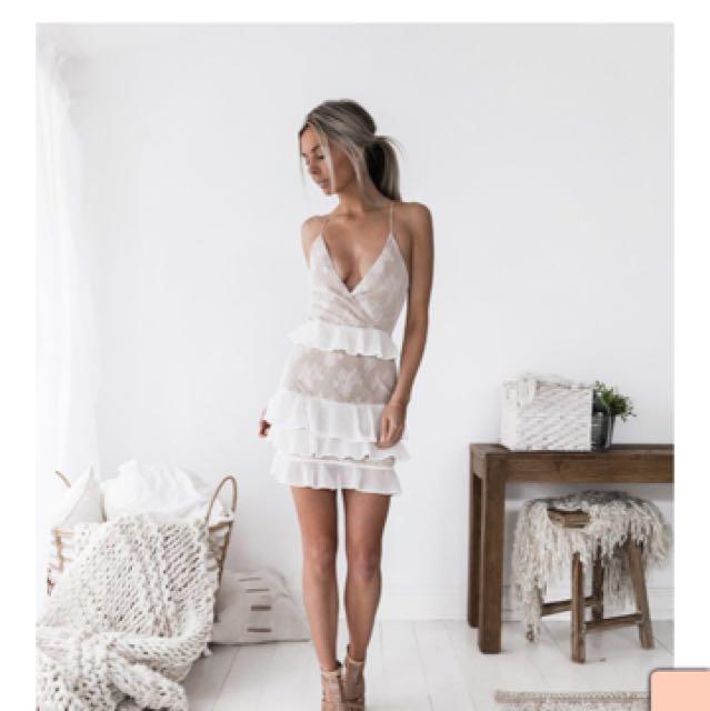 Nude and white ruffle dress