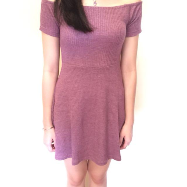 Off Shoulder Maroon Dress - FACTORIE brand size S
