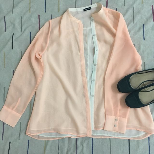 Orange Formal Long Sleeved Blouse
