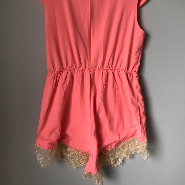 Orange lace play suit