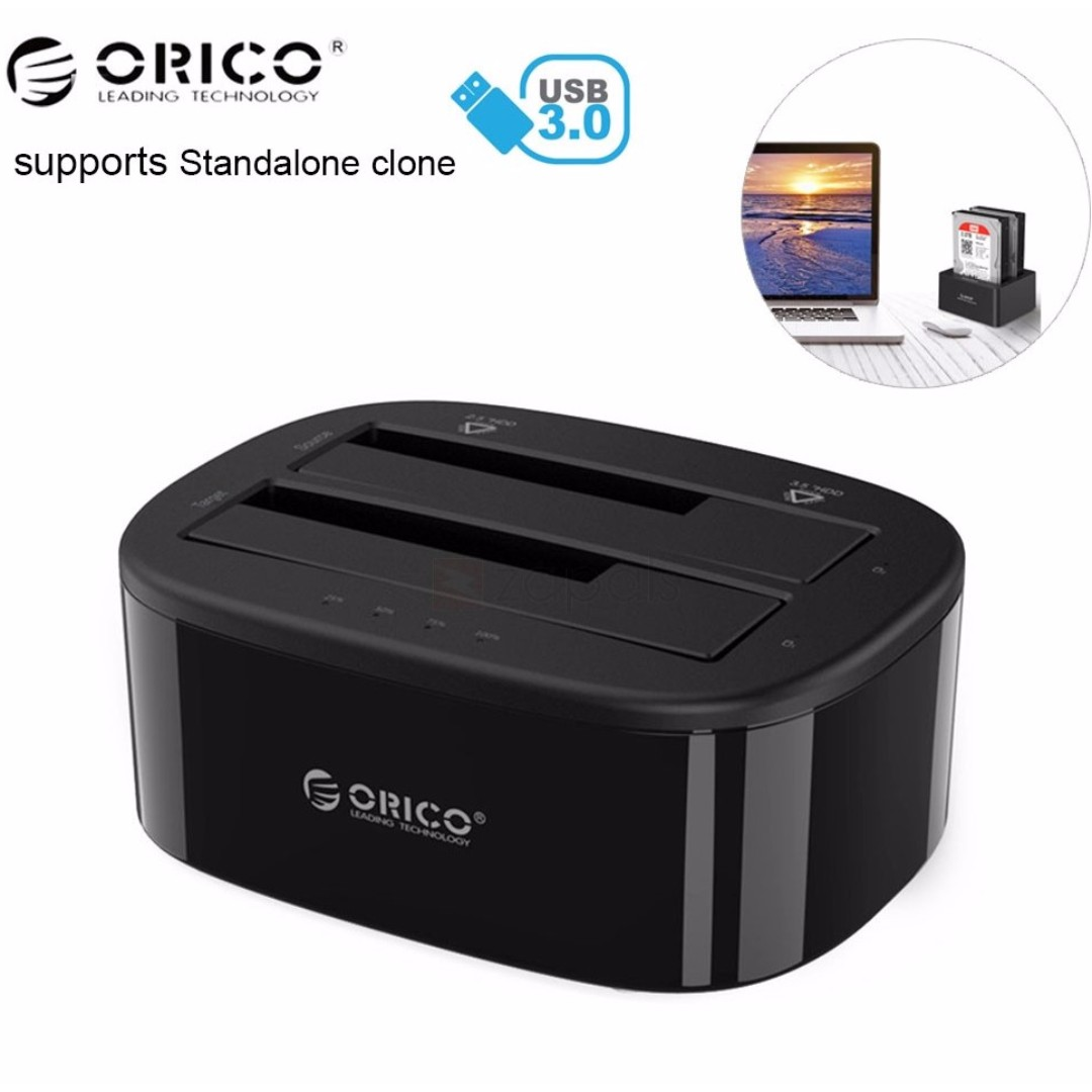 Orico 2 Bay Usb30 Hard Drive Dock With Standalone Clone 6228us3c 6228us3 C 2bay Docking Harddisk Usb 30 Electronics Others On Carousell