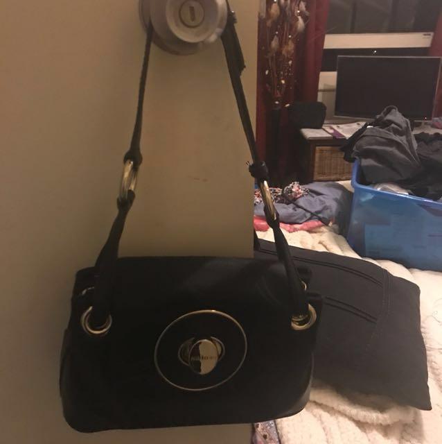 Oroton Black n pattern leather side hand bag