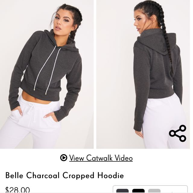 PLT Size 8 Charcoal Cropped Hoodie
