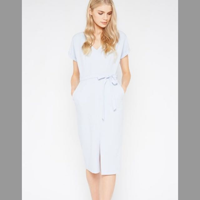 Powder Blue Dress - Size 8 - fitted with capped sleeves and tie waist - midi length