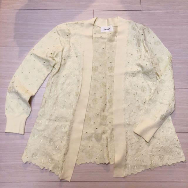 (二手)日牌snidel刺繡鏤空克什米爾羊毛成份開衫