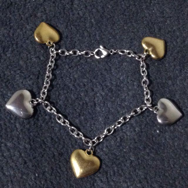 Stainless Heart Charm Bracelet