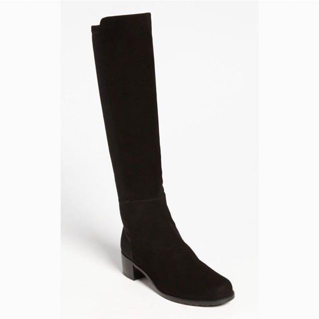 Stuart Weitzman Black Suede Half And Half Boots Size 6 $400