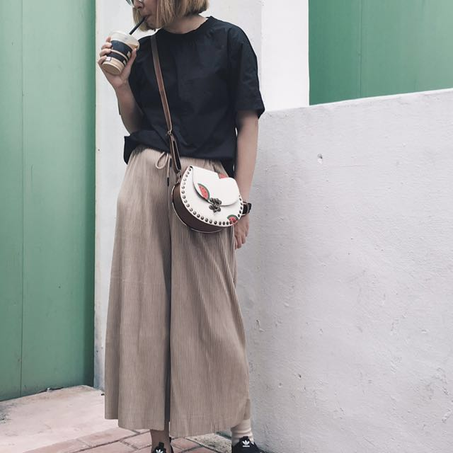 Styledasher Pleated Wide Leg Pants in Sand