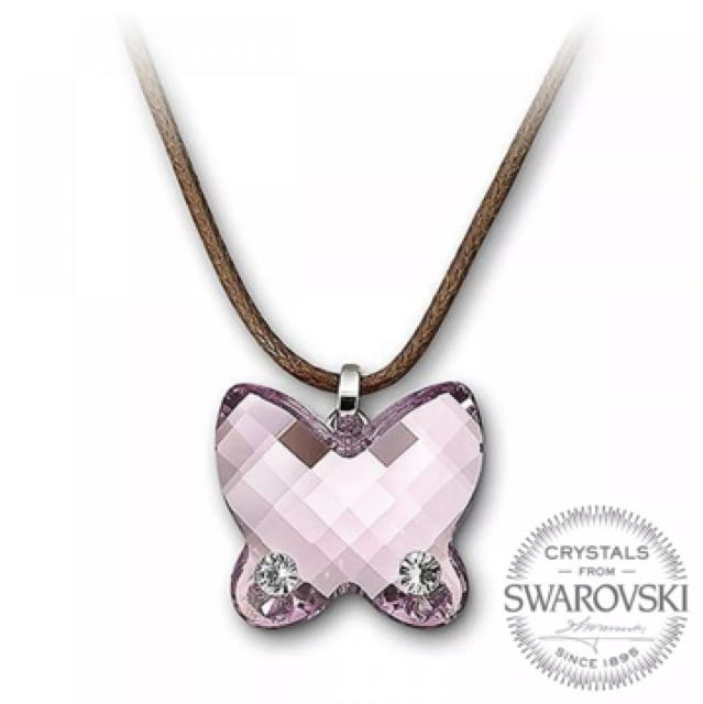 bd4bee7f66 Swarovski crystal butterfly necklace, Women's Fashion, Jewelry on Carousell