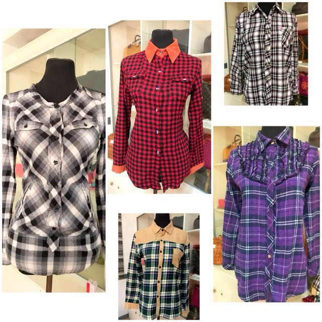 TAKE ALL for 420!! Checkered long sleeves