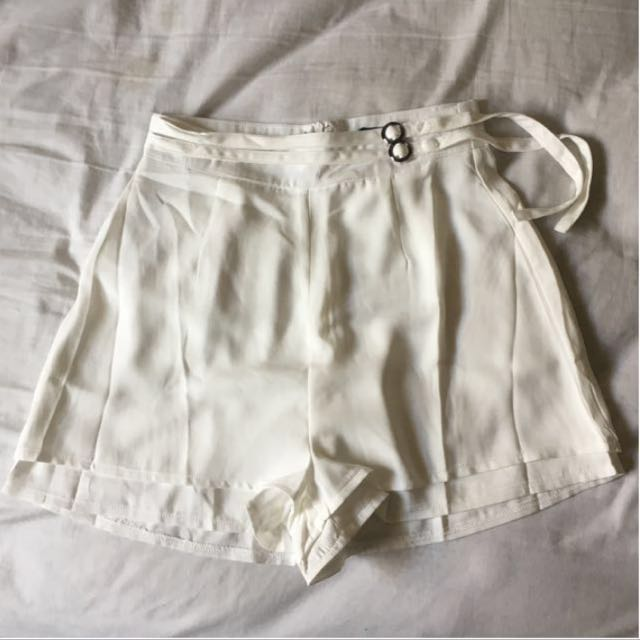 White Highwaisted Shorts