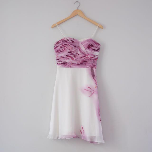 White Purple Mini Dress
