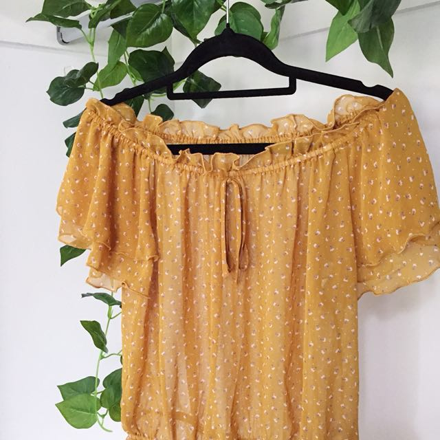 Yellow / Mustard Slightly Sheer Off The Shoulder Frilly Top