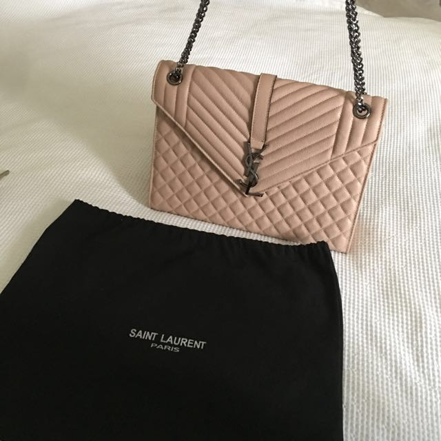 YSL large envelope chain bag (in nude)