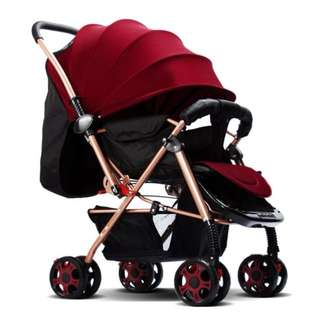BABY INFANT FOLDABLE PRAM BABY STROLLER TRAVEL CAR WITH AWNING CARBON