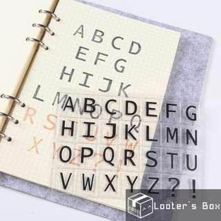 Capital Letter Basic Sans Serif Alphabet Transparent Stamp (H2387)