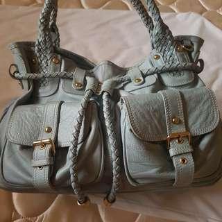 Bonia Baby Blue  Leather Handbag Tote