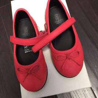 Authentic Gucci Toddler Girl Mary Jane Ballet Euro 22 Flat Neon Pink