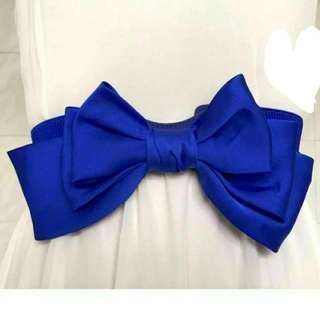[特價現貨] 腰帶 綢緞雪紡 大蝴蝶結 寶藍色