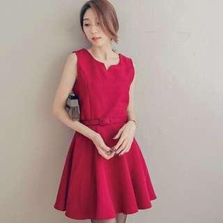 Mayuki V-Neck Red Sleeveless Dress