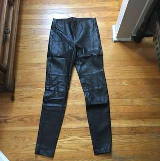H and m brown leather pants