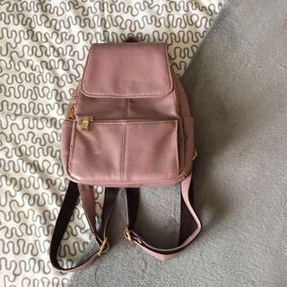Mauve Leather Backpack