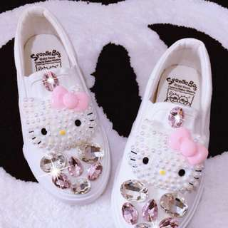 Mom and Daughter Hello Kitty Rhinstone Pearl Shoes
