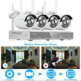 ACEHE Wireless Video Security System 2.4G 4CH 960P HD NVR CCTV with 1.3MP Indoor/Outdoor Weatherproof Cameras and IR Night Vision LED- FULL SET