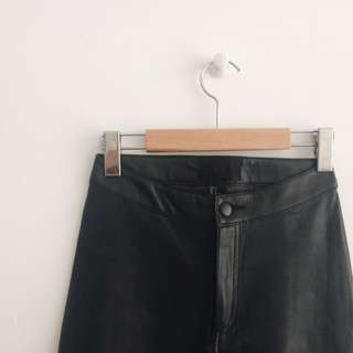 Faux Leather Pants with Corset Detail