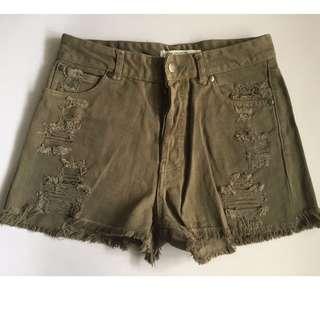 Jorge Button Up Olive Green Khaki Shorts (Size: 10)