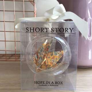 Hope in a box origami crane ornament