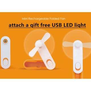 USB mini rechargeable folded fan+USB LED light
