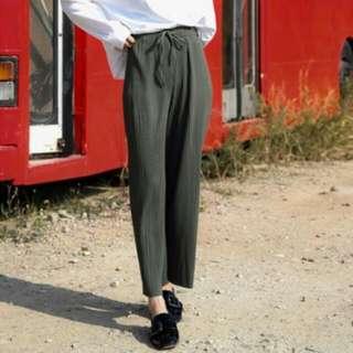 顯瘦直紋路綁帶寬褲 黑/墨綠