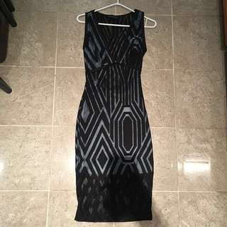 Deep V Blue & Black Mesh Dress with Back Cut Out *REDUCED*
