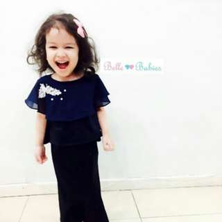 Belle Babies Designs Mini Kurung with Cape. Worn and dry cleaned. Size 1y can use until 2y Retail at RM100+