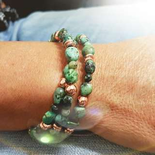 African turquoise and rosegold hematite bracelet