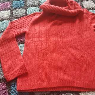 cowl neck red Christmas sweater