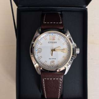 Citizen Mens Silver Stainless Steel Eco-Drive Leather Date Watch
