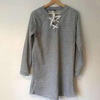 Grey Lace Up Oversized Jumper Dress