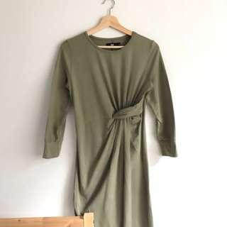 Khaki green maxi dress size 8