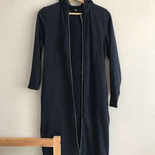Navy long maxi hoodie size 8