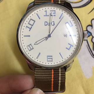 D &G 簡約風錶 白面啡皮帶 Watch