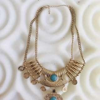 Boho vintage coin gold necklace
